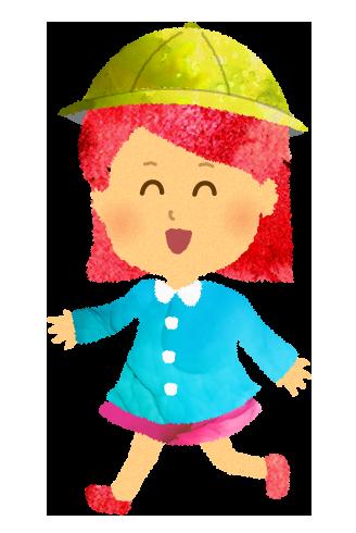 スモックを着た幼稚園児の女の子のイラスト