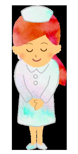 おじぎをする看護婦のイラスト
