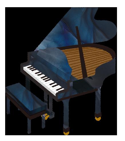 【フリー素材】グランドピアノと椅子のイラスト