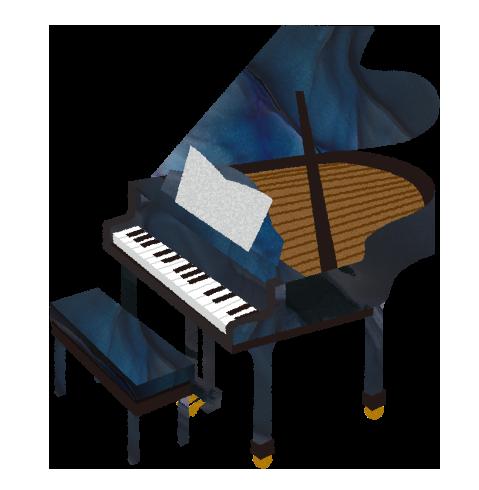 【フリー素材】グランドピアノと椅子と楽譜のイラスト