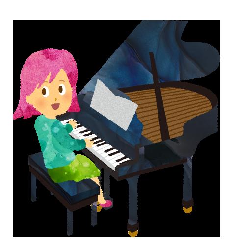 【フリー素材】ピアノを弾く女の子、グランドピアノと椅子と楽譜のイラスト
