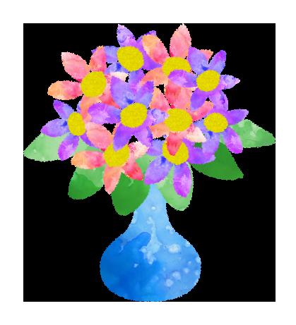 花瓶に刺さった沢山のお花のイラスト