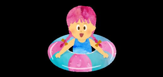 プールで浮き輪で浮いている女の子のイラスト