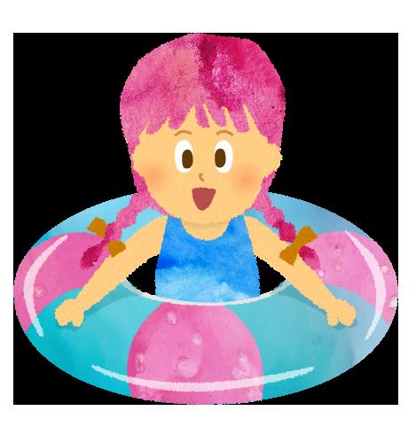 プールにて浮き輪と女の子のイラスト