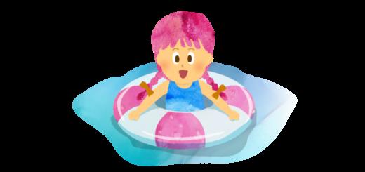 海で浮き輪に浮かぶ女の子のイラスト