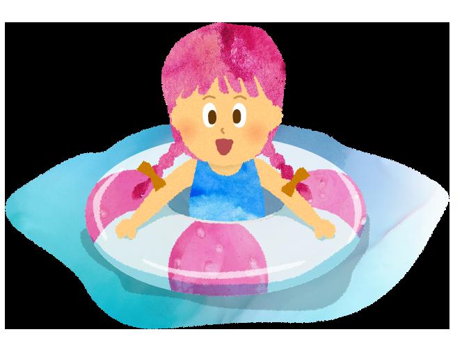 プール、海で浮き輪に乗る女の子のイラスト