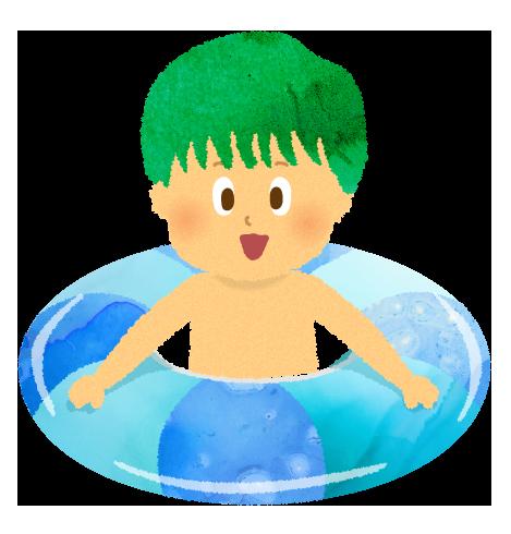 プールで浮き輪に乗って遊んでいる男の子のイラスト
