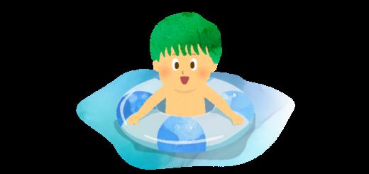 海で浮き輪で浮いている男の子のイラスト