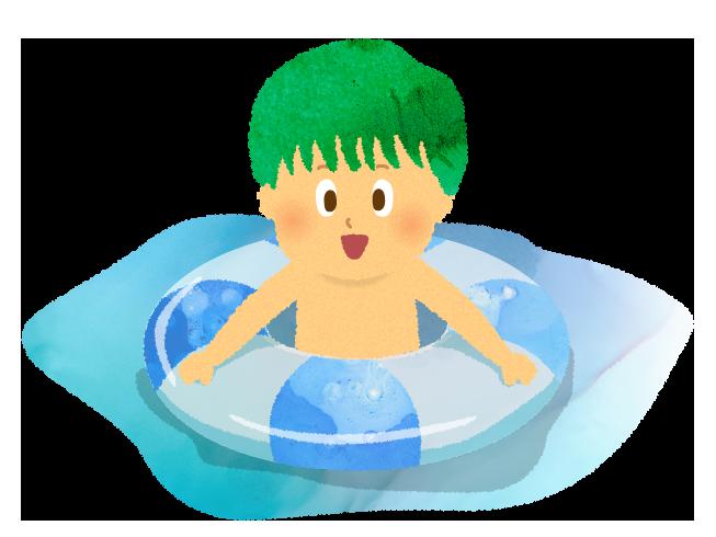 プールでうきわで遊ぶ男の子のイラスト