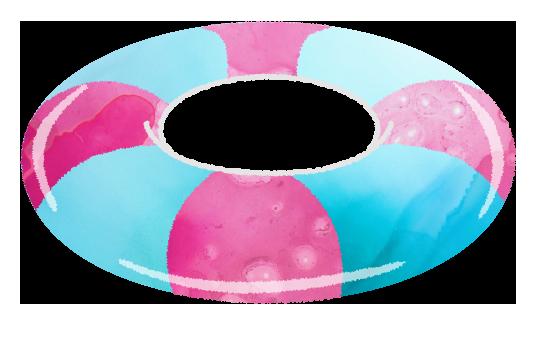 ピンクのうきわのイラスト
