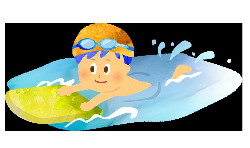 ビート板で泳ぐ男の子のイラスト
