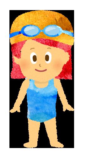 スクール水着と水泳帽とゴーグルを付けた女の子のイラスト