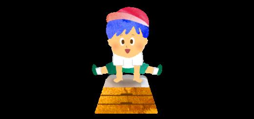 跳び箱を跳ぶ男の子のイラスト