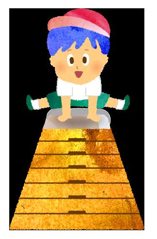 高い跳び箱を跳ぶスーパー小学生のイラスト