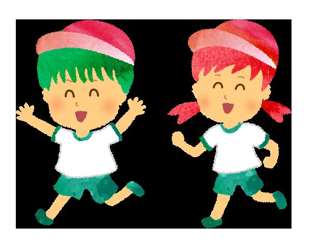 かけっこする男の子と女の子のイラスト
