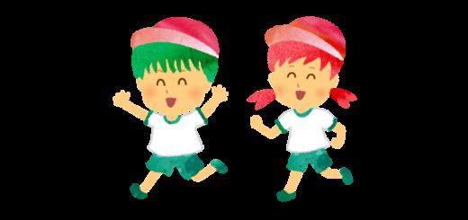 徒競走をする小学生のイラスト