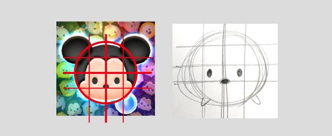 ツムツムのイラスト書き方、目と鼻を書きました。