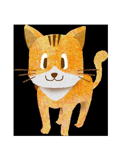 白と茶色の猫のイラスト