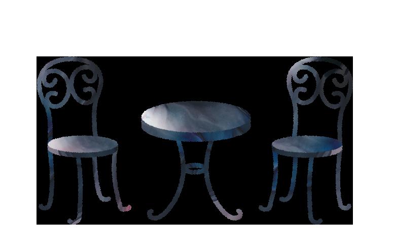 ガーデンテーブルチェアのイラスト