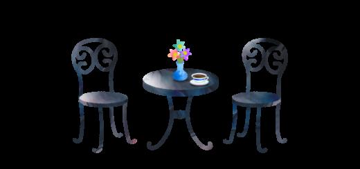カフェテーブルと花瓶とコーヒーカップのイラスト