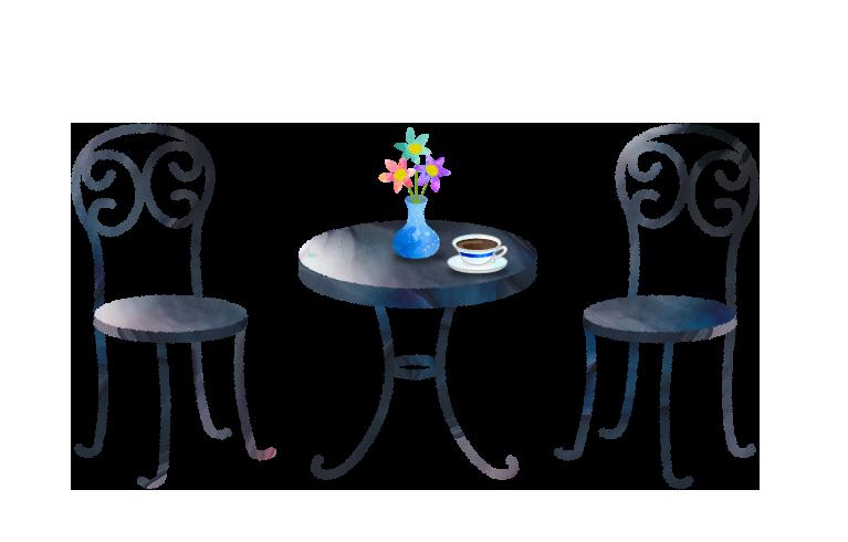 ガーデンテーブルと花瓶とコーヒーカップのイラスト