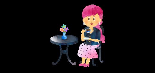お庭でお茶を飲む女性のイラスト