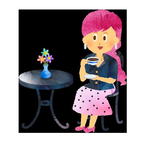 カフェテーブルでコーヒーを飲む女性のイラスト