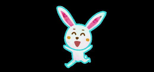 わーい!喜んで走るウサギのイラスト