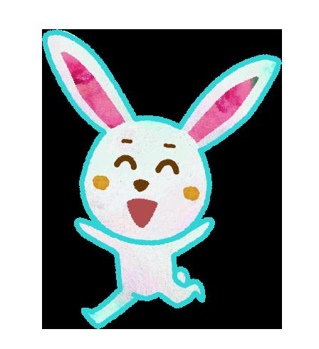 走るウサギのキャラクターイラスト
