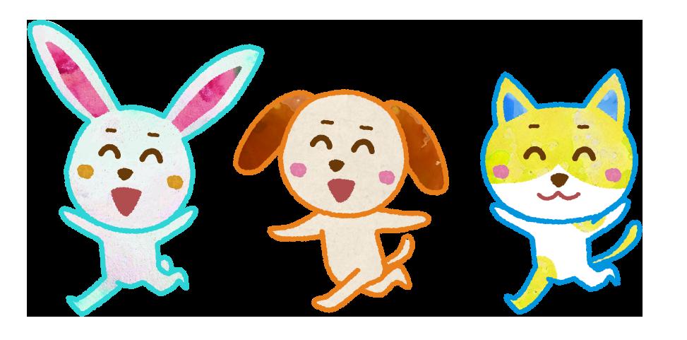 うさぎ、犬、猫のキャラクターイラスト