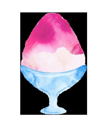 かき氷イチゴ味のイラスト