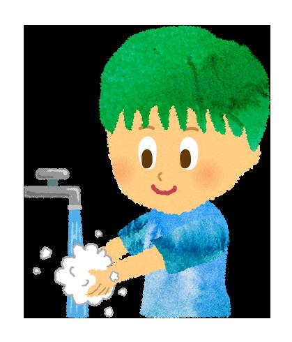 【無料素材】水道で手を洗う男の子のイラスト