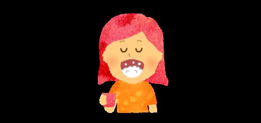 風邪予防にうがいをする女の子のイラスト