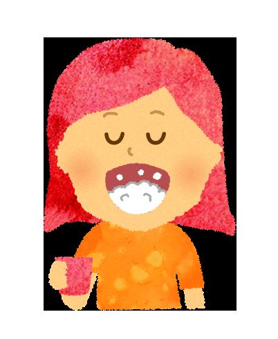 【無料イラスト】うがいをする女の子のイラスト
