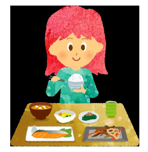 【無料素材】和食の朝食を食べる女の子のイラスト