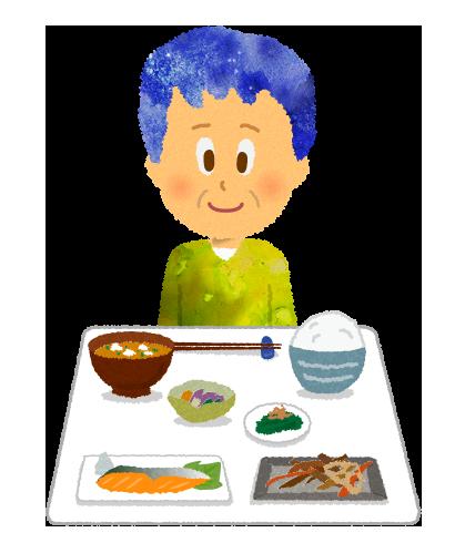 【無料素材】年配の男性と和食のイラスト