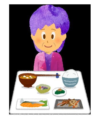 【フリー素材】高齢の女性と健康食のイラスト