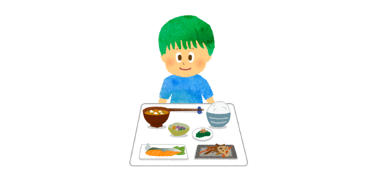男の子と朝食のイラスト