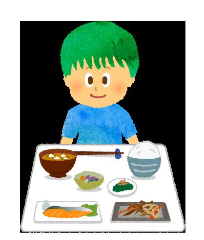 【フリーイラスト】健康食と男の子
