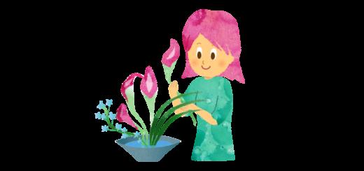 生け花を嗜む女性のイラスト