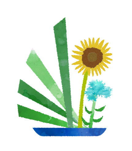 ひまわりの生け花のイラスト
