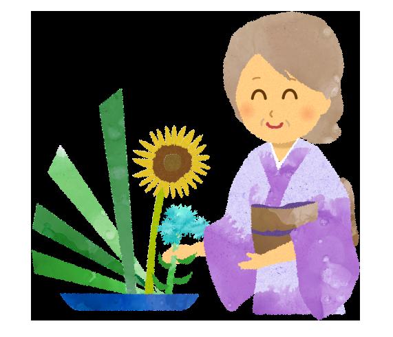 生け花講師のイラスト