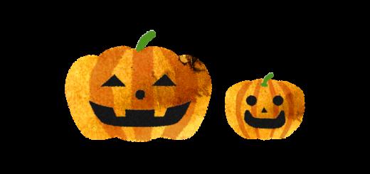 2つのハロウィンかぼちゃのイラスト
