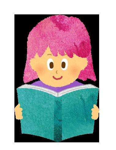 【無料素材】絵本を読む女の子のイラスト