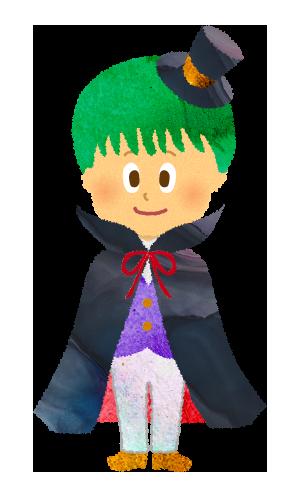 【無料素材】ハロウィン仮装した男の子のイラスト
