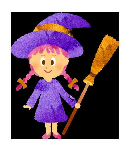 【フリー素材】魔女のコスプレをした女の子のイラスト