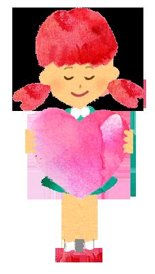 【無料素材】ハートを持つ女の子のイラスト