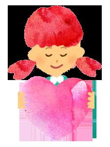 無料】ハートを持つ女の子のイラスト