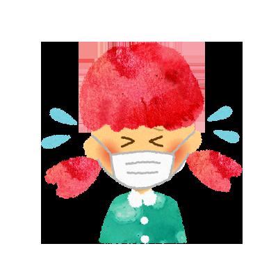 フリー素材:マスクをして泣いている女の子のイラスト