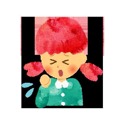 フリー素材;咳(せき)をしている女の子のイラスト